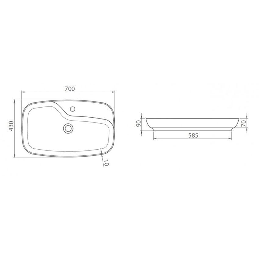 Umywalka CeraStyle Nova 074400-u rysunek techniczny