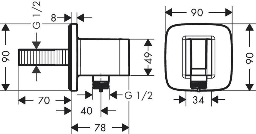 Przyłącze węża E z uchwytem prysznicowy Hansgrohe FixFit rysunek