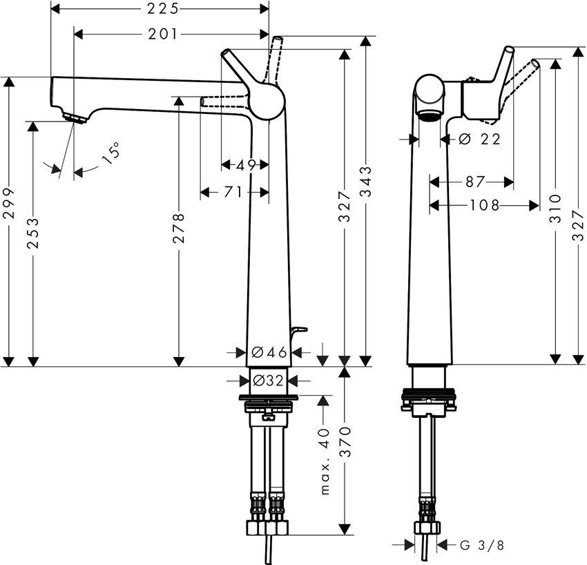 Jednouchwytowa bateria umywalkowa 250 z cięgłem Hansgrohe Talis S rysunek techniczny