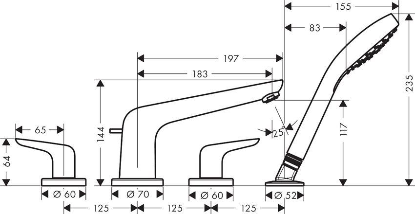4-otworowa bateria element zewnętrzny Kludi Novus rysunek techniczny
