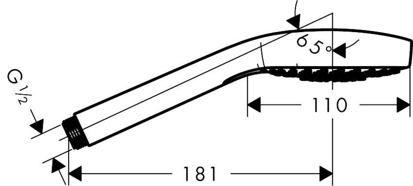 Główka prysznicowa Multi Hansgrohe Croma Select E rysunek techniczny