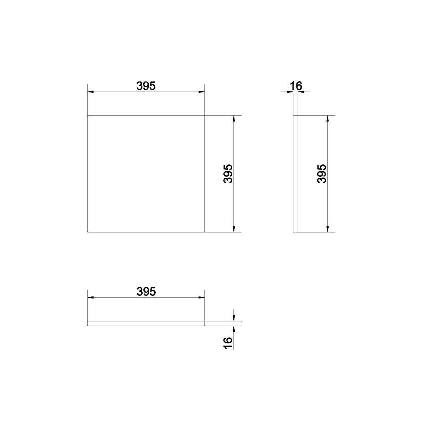 Front 40 szary Cersanit Colour rysunek techniczny