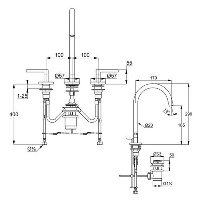 Stojąca bateria umywalkowa montaż trójotworowy Kludi Nova Fonte rysunek