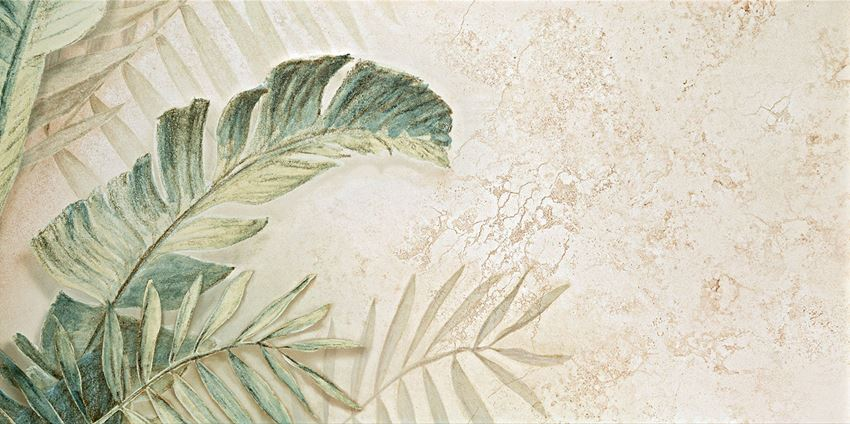 Obraz gresowy 59,8x119,8 cm Domino Alabaster Shine Element 3 leaves B