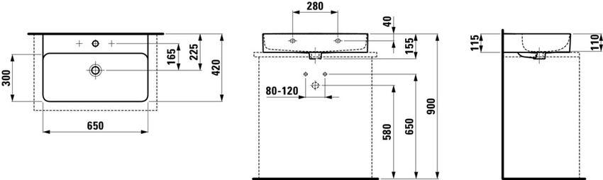 Umywalka ścienna/blatowa, 65x42x11,5 cm Laufen Val rysunek techniczny