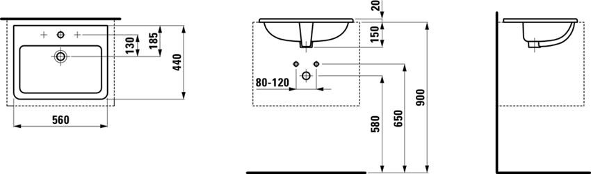 Umywalka wpuszczana w blat 56 cm Laufen Pro S rysunek