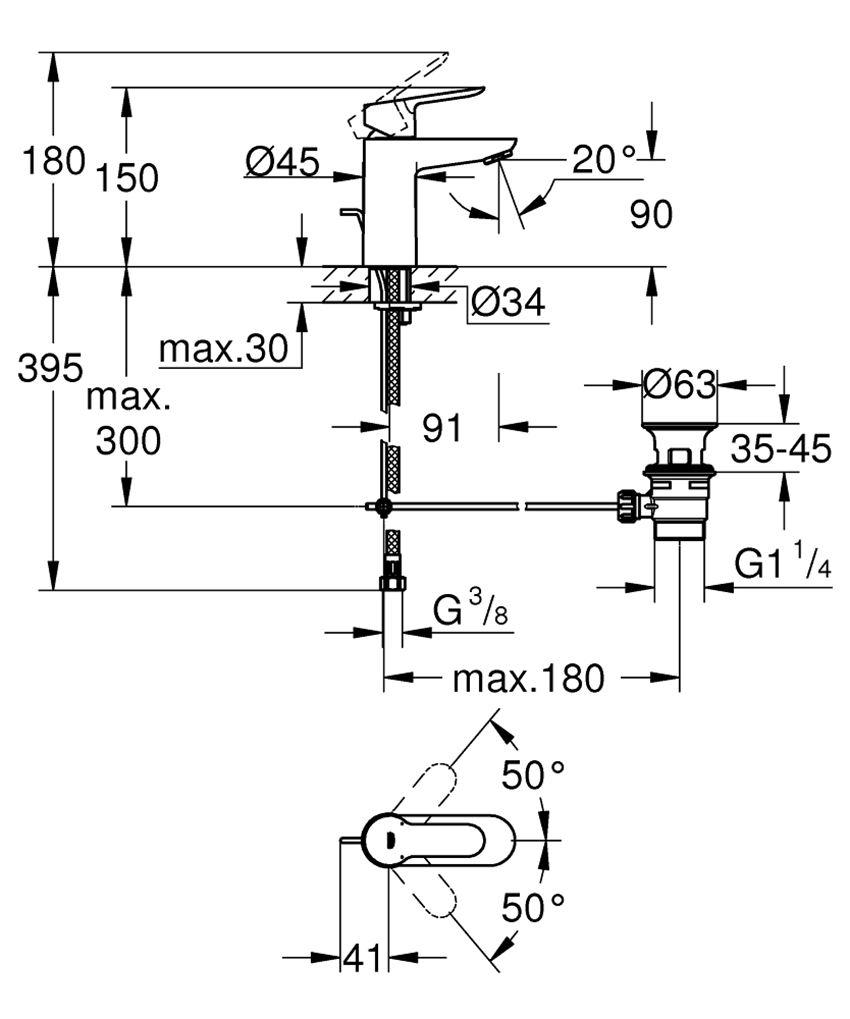 Bateria umywalkowa 15 cm Grohe BauEdge