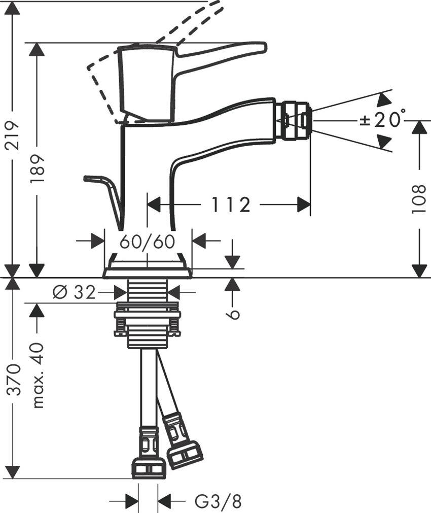 Jednouchwytowa bateria bidetowa z cięgłem Hansgrohe Metropol Classic rysunek techniczny