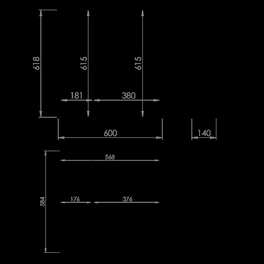 Szafka wisząca z lustrem 60 cm Elita 2D White (20/40) Technobox rysunek