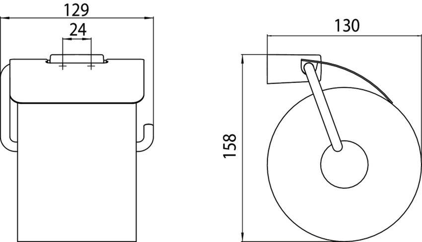 Uchwyt na papier toaletowy z pokrywą Emco Trend rysunek techniczny