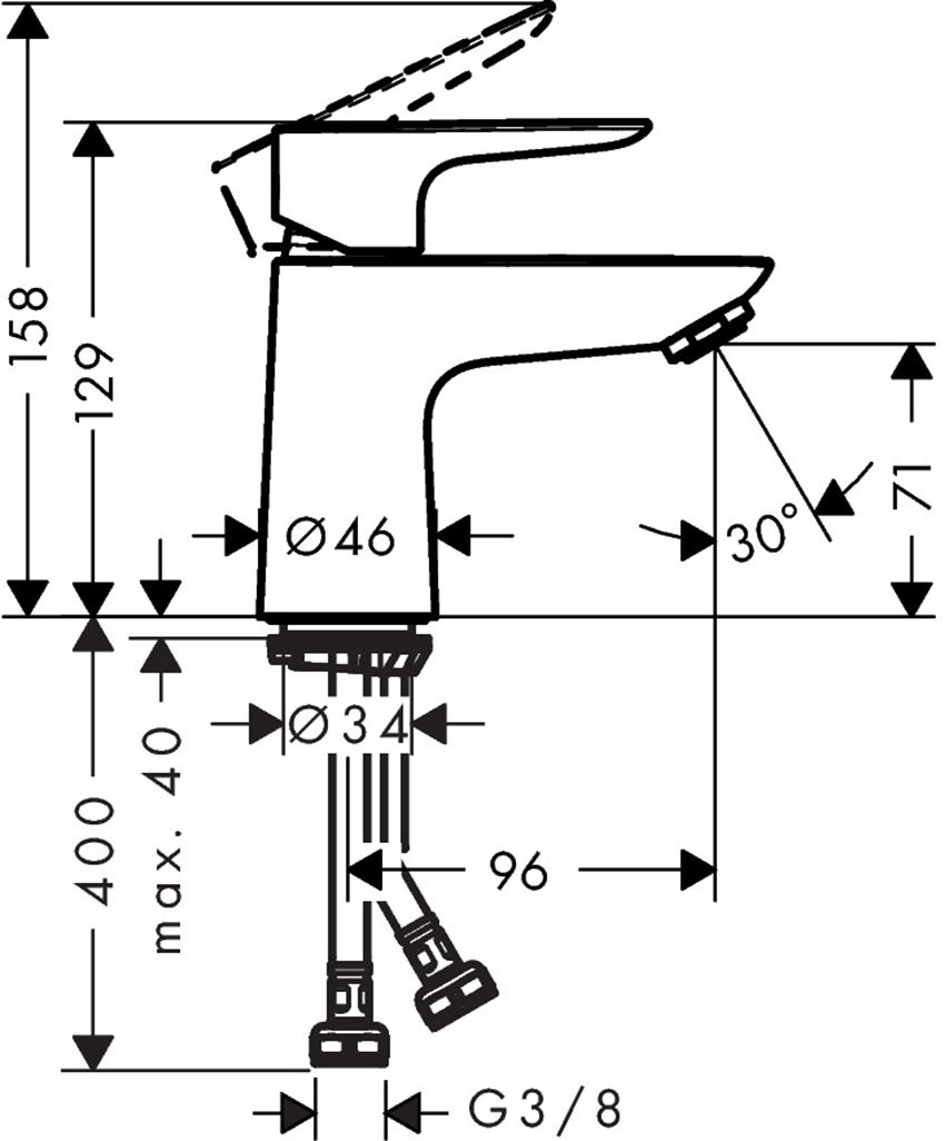 Jednouchwytowa bateria umywalkowa 80 CoolStart bez kpl. odpływowego Hansgrohe Talis E rysunek techniczny