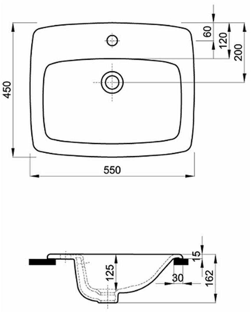 Umywalka wpuszczana w blat 55 cm Koło Nova Pro rysunek techniczny