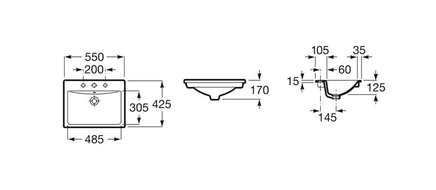Rysunek techniczny umywalki blatowej 55x42,5x17 cm Roca Diverta