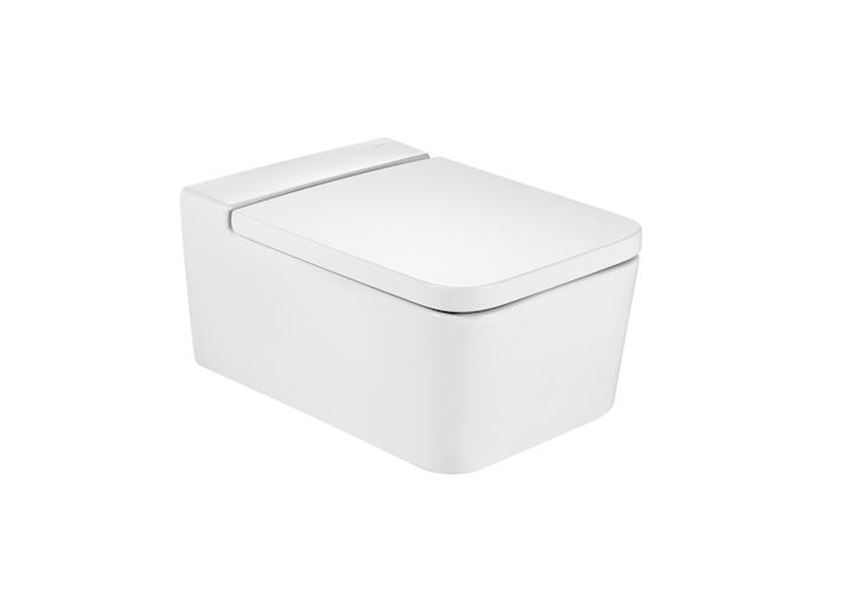 Miska WC podwieszana Rimless Square z powłoką MaxiClean 37x56x44 cm Roca Inspira A34653700M
