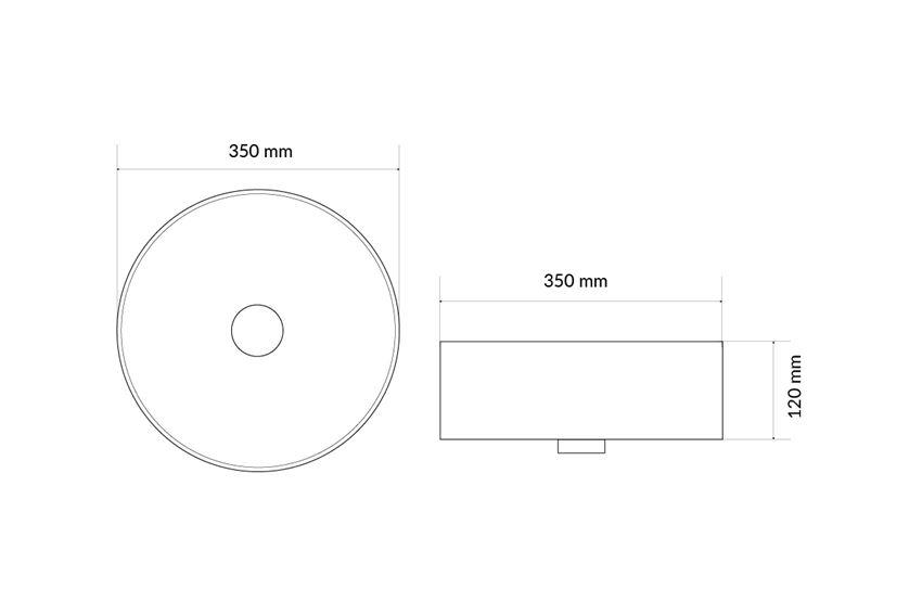 Umywalka nablatowa 35 cm Excellent Ovia rysunek techniczny