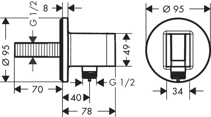 Przyłącze węża S z uchwytem prysznicowym Hansgrohe FixFit rysunek
