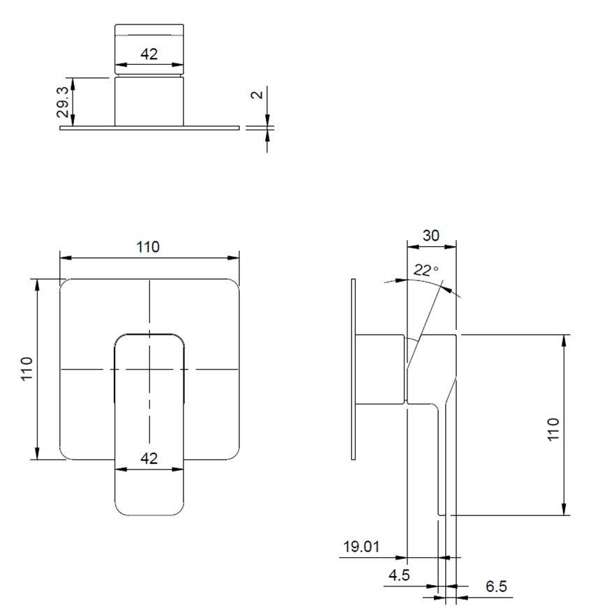 Bateria prysznicowa podtynkowa rysunek techniczny Omnires Slide