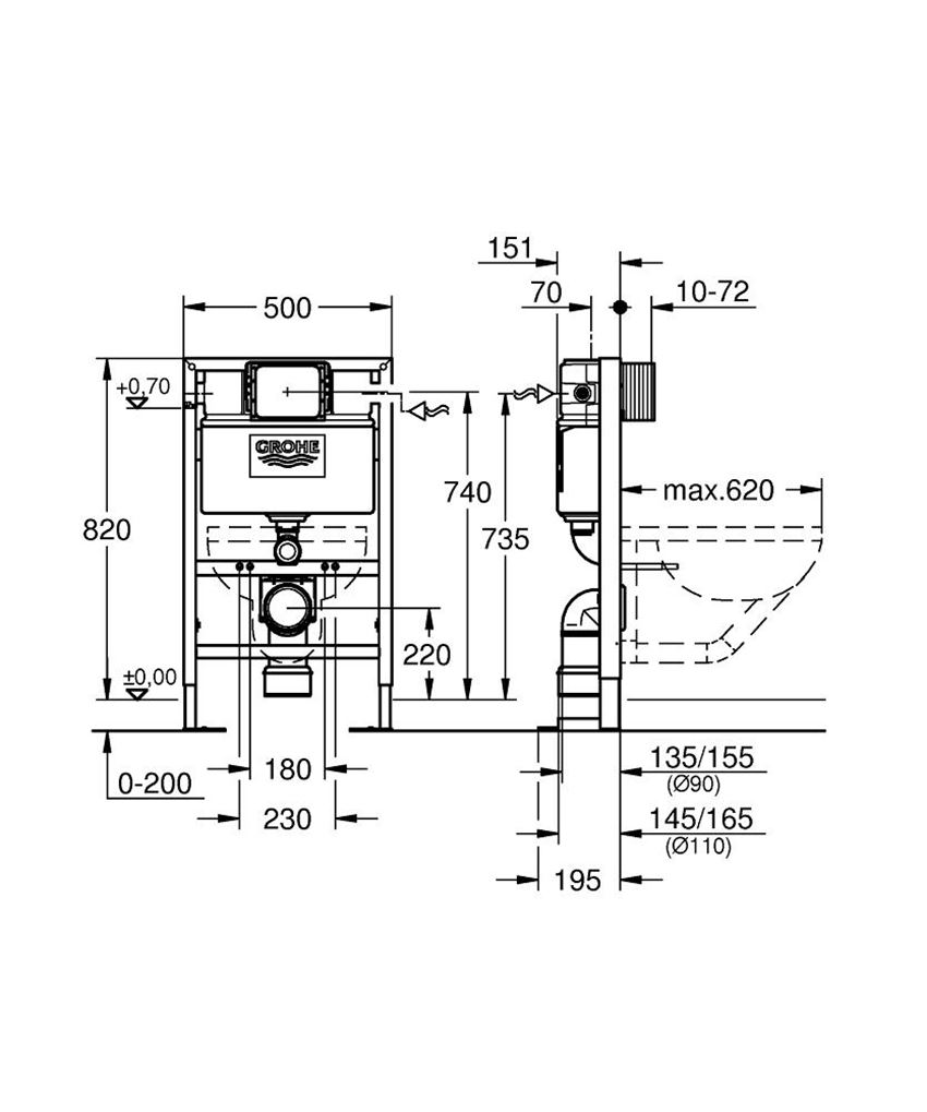 Stelaż podtynkowy do WC 82 cm Grohe Rapid SL rysunek techniczny