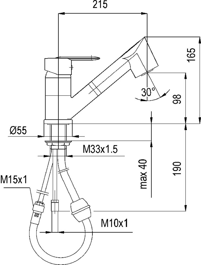 Jednouchwytowa bateria kuchenna KFA Topaz rysunek techniczny