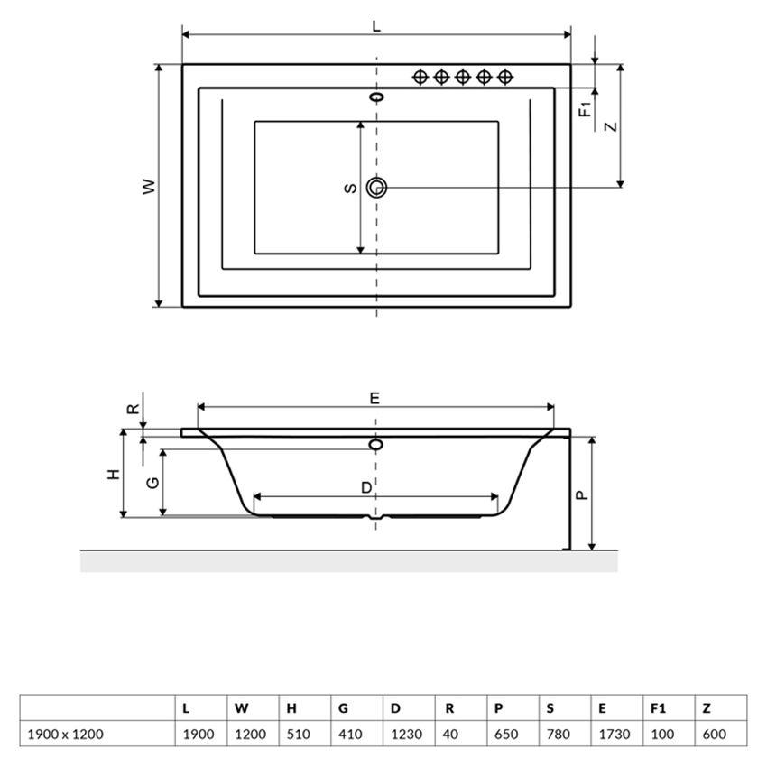 Wanna prostokątna 190x120 cm Excellent Crown Lux rysunek techniczny
