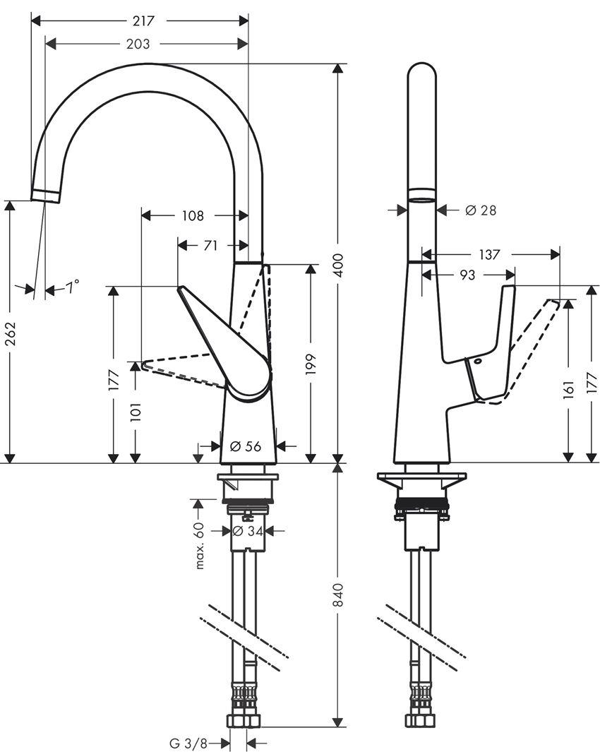 Jednouchwytowa bateria kuchenna 260 Hansgrohe Talis S rysunek techniczny
