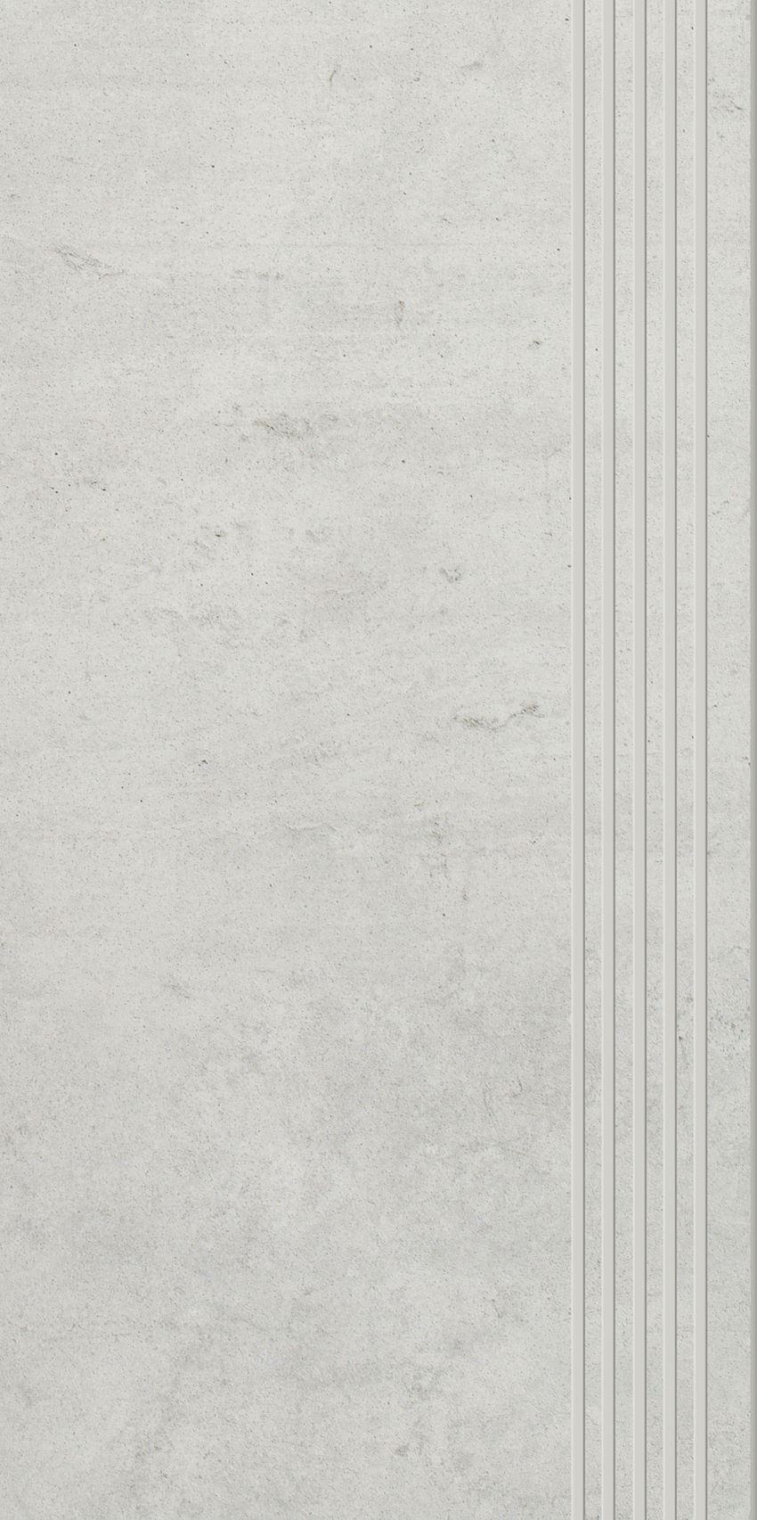 Płytka stopnicowa 29,8x59,8 cm Paradyż Scratch Bianco Stopnica Prosta Nacinana Półpoler