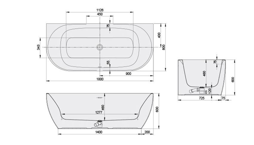 Wanna przyścienna 80x180 cm Sanplast Loft Line rysunek