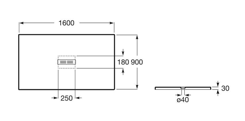 Brodzik prostokątny 160x90x3 cm Roca Helios rys.techniczny