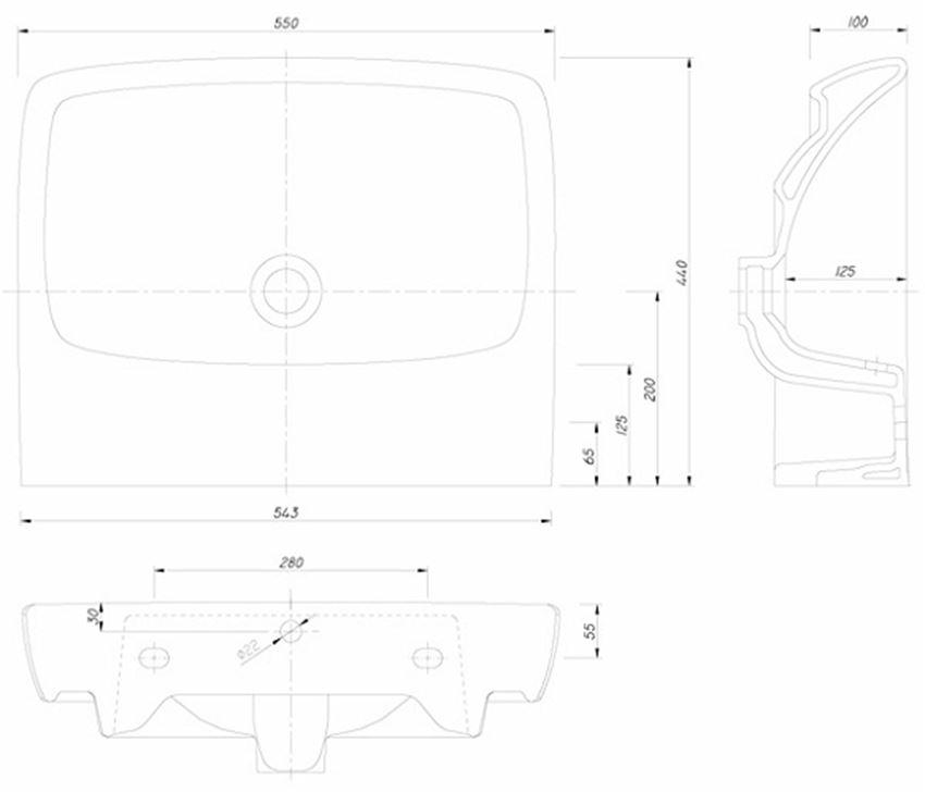 Umywalka prostokątna bez otworu 55 cm Koło Nova Pro rysunek techniczny