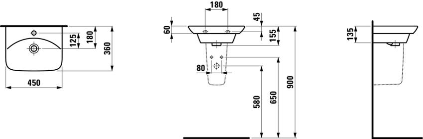 Umywalka ścienna 45 cm Laufen Palace rysunek techniczny