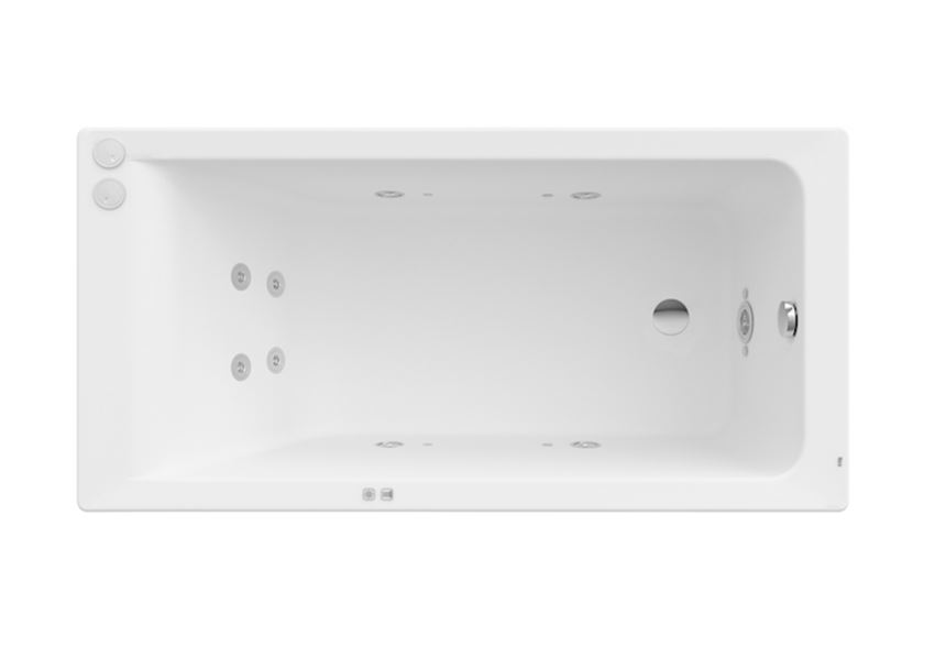 Prostokątna wanna akrylowa z hydromasażem Smart Water Plus 140x70x40 cm Roca Easy