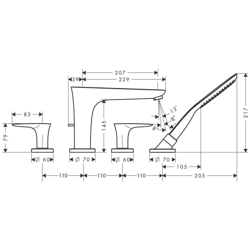 4-otworowa bateria na brzeg wanny element zewnętrzny chrom Hansgrohe PuraVida rysunek techniczny