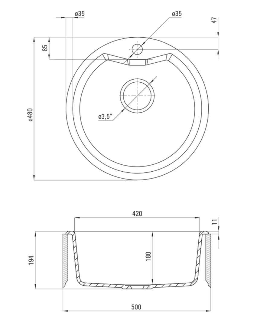 Zlewozmywak 1-komorowy z baterią Deante Solis rysunek