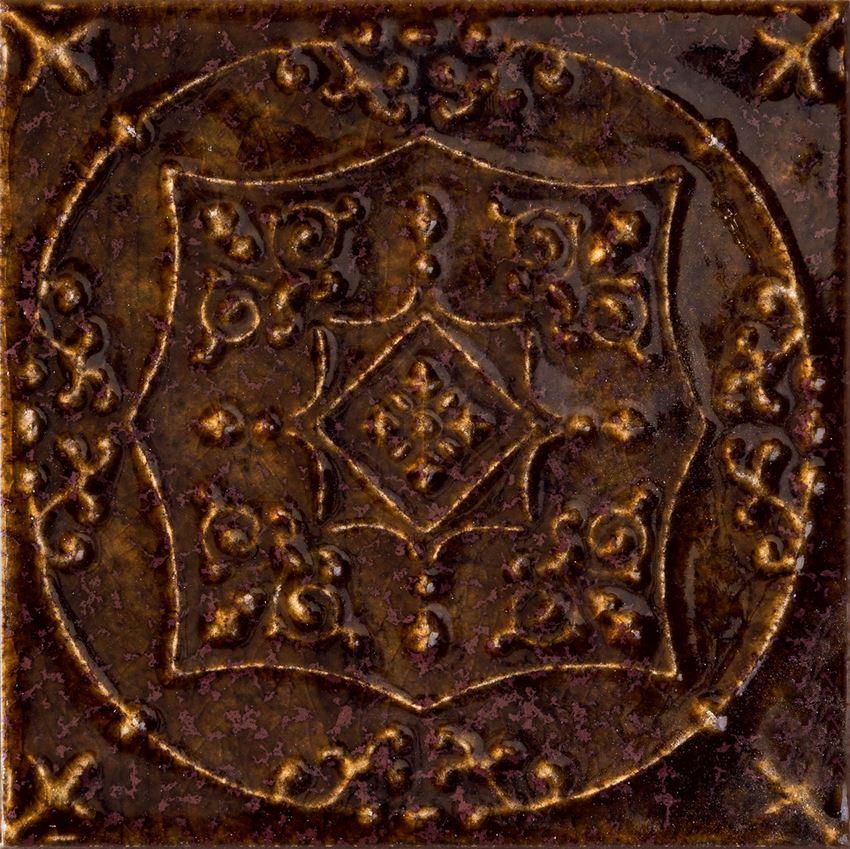 Dekor ścienny 8 różnych wzorów pakowanych losowo 14,8x14,8 cm Tubądzin Tinta Brown