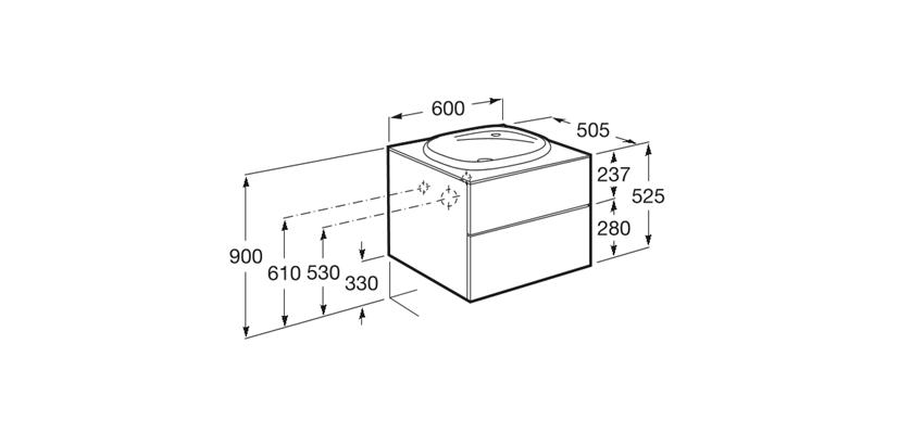 Zestaw łazienkowy 60x50,5x52,5 cm Roca Beyond rysunek techniczny