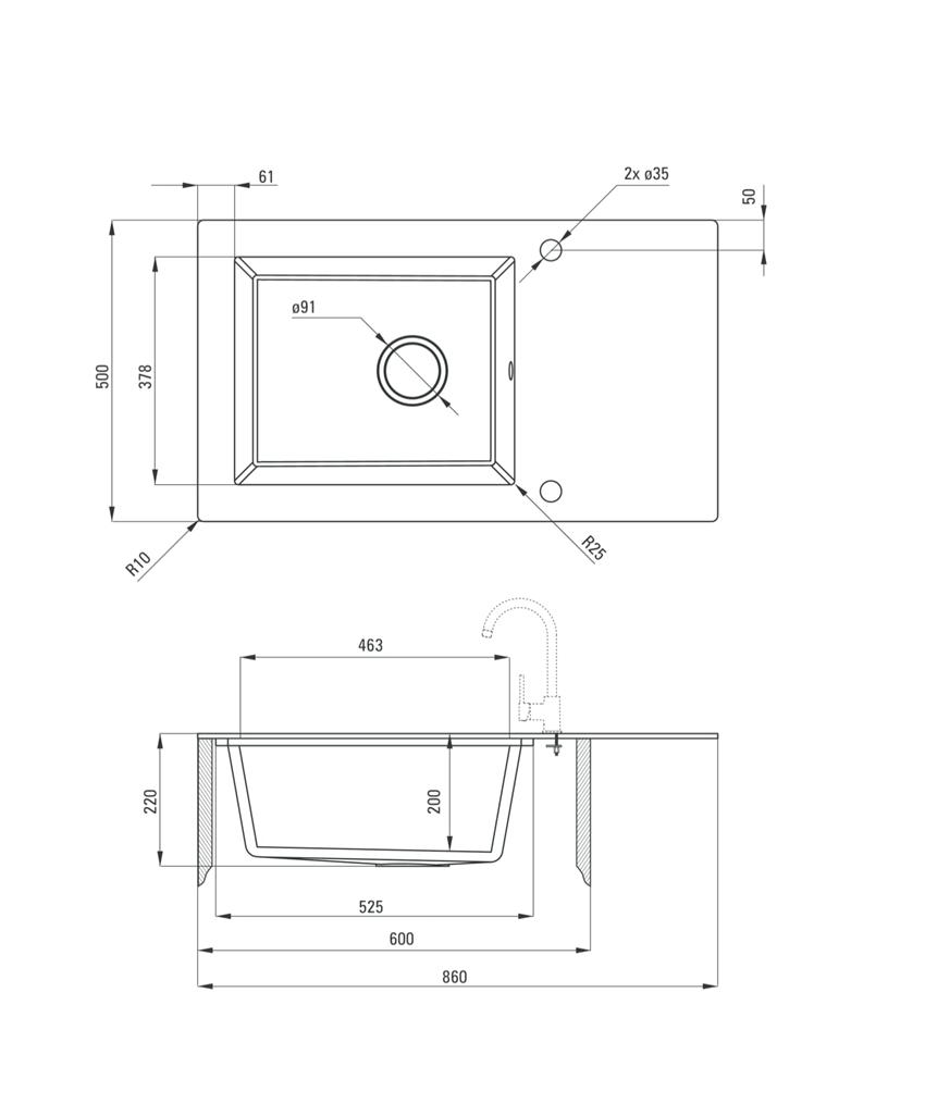 Zlewozmywak szklano-granitowy 1-komorowy z ociekaczem Deante Capella rysunek techniczny