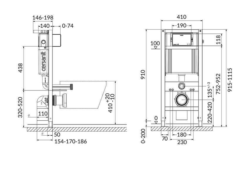 Stelaż podtynkowy do WC do zabudowy suchej Aqua Seria 4 Cersanit rysunek