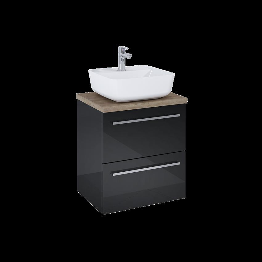 Szafka z umywalką i blatem 50 cm Elita Kwadro Plus Black