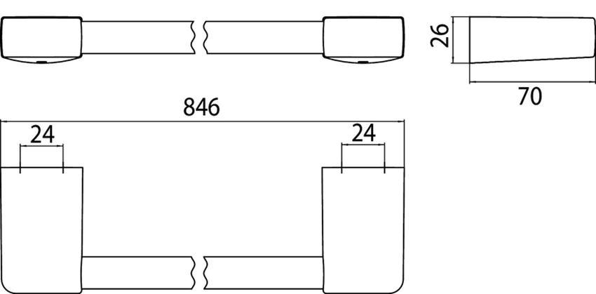 Wieszak na ręcznik 80 cm Emco Trend rysunek techniczny