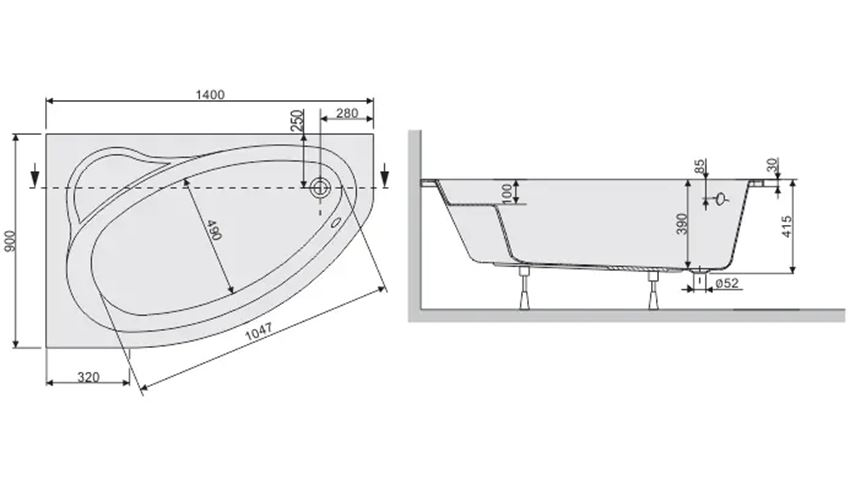 Wanna asymetryczna lewa 90x140 cm Sanplast Eko Plus rysunek