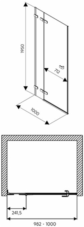 Drzwi lewostronne z relingiem 100x195 cm Koło Next rysunek techniczny