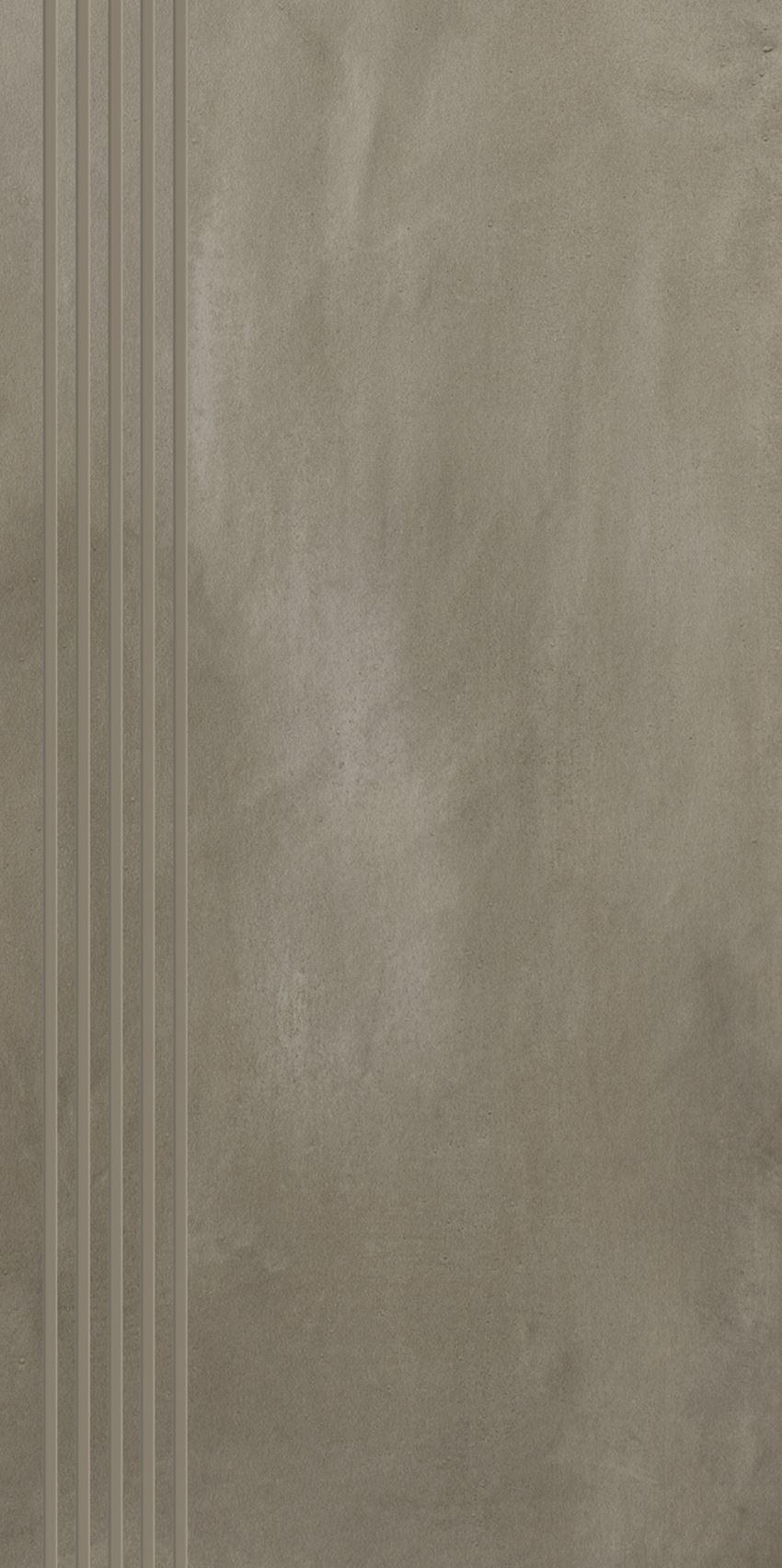 Płytka stopnicowa 29,8x59,8 cm Paradyż Tigua Grys Stopnica Prosta Nacinana Mat