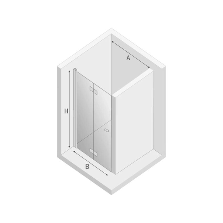 Drzwi prysznicowe lewe New Trendy New Soleo Black rysunek techniczny