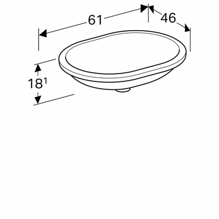 Umywalka podblatowa eliptyczna 55x40 cm bez otworu bez przelewu Koło VariForm rysunek
