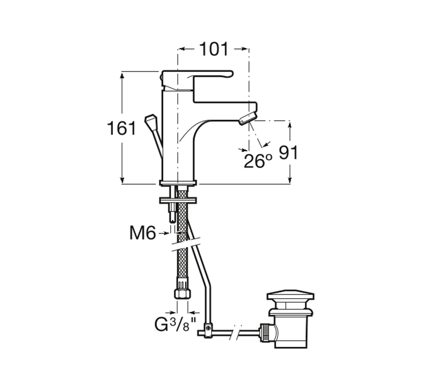 Bateria umywalkowa bez korka Roca Arola rysunek techniczny