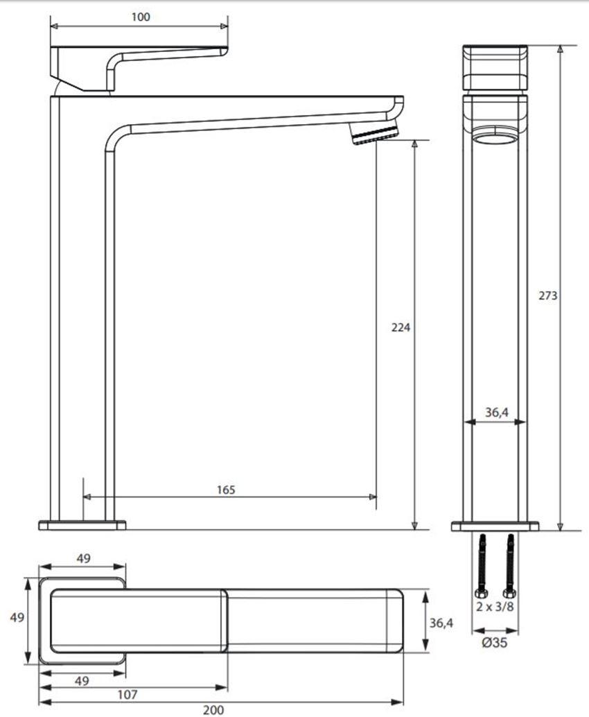 Bateria umywalkowa wysoka Omnires Parma rys.techniczny