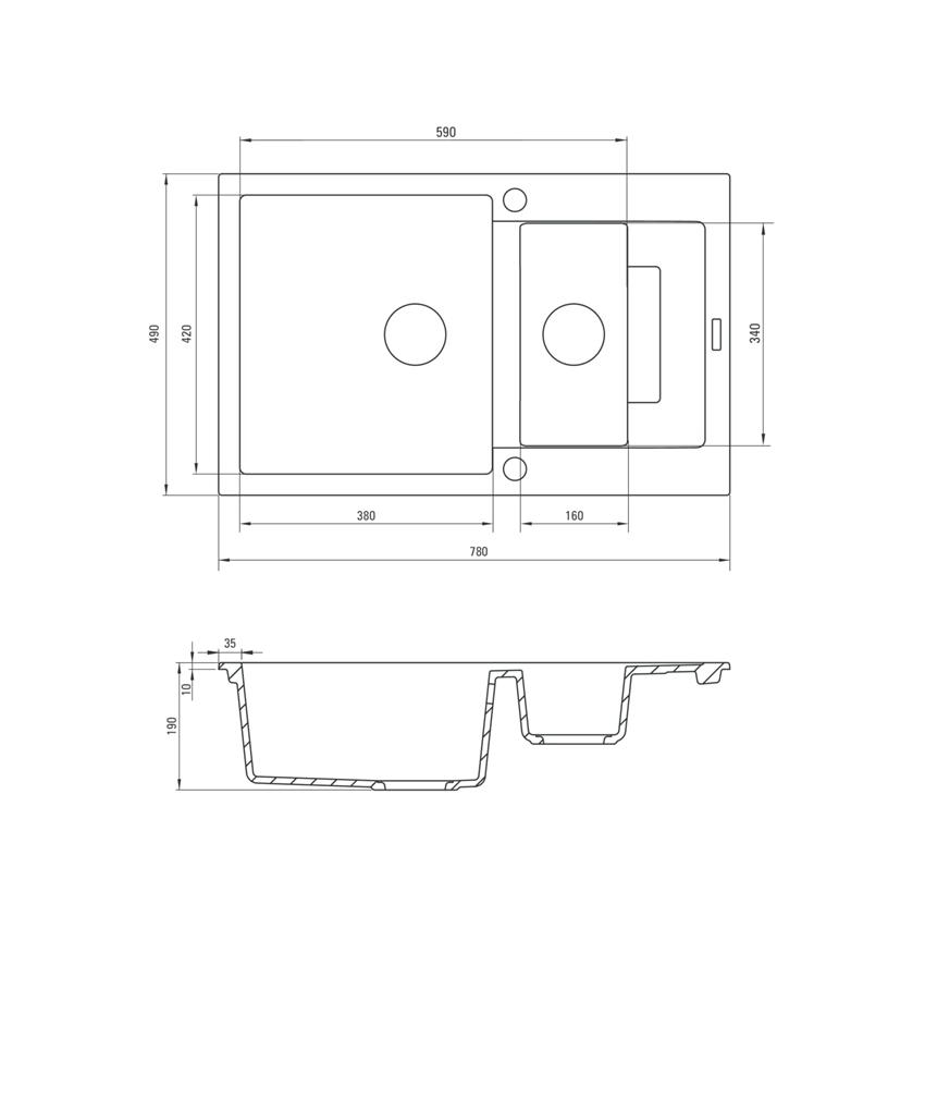 Zlewozmywak 1,5-komorowy z krótkim ociekaczem Deante Rapido rysunek techniczny