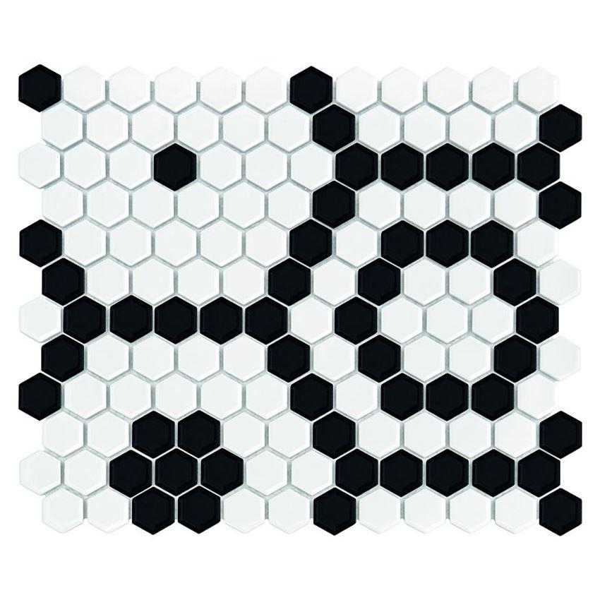 Mozaika 30x26 cm Dunin Hexagonic Mini Hexagon B&W Bee