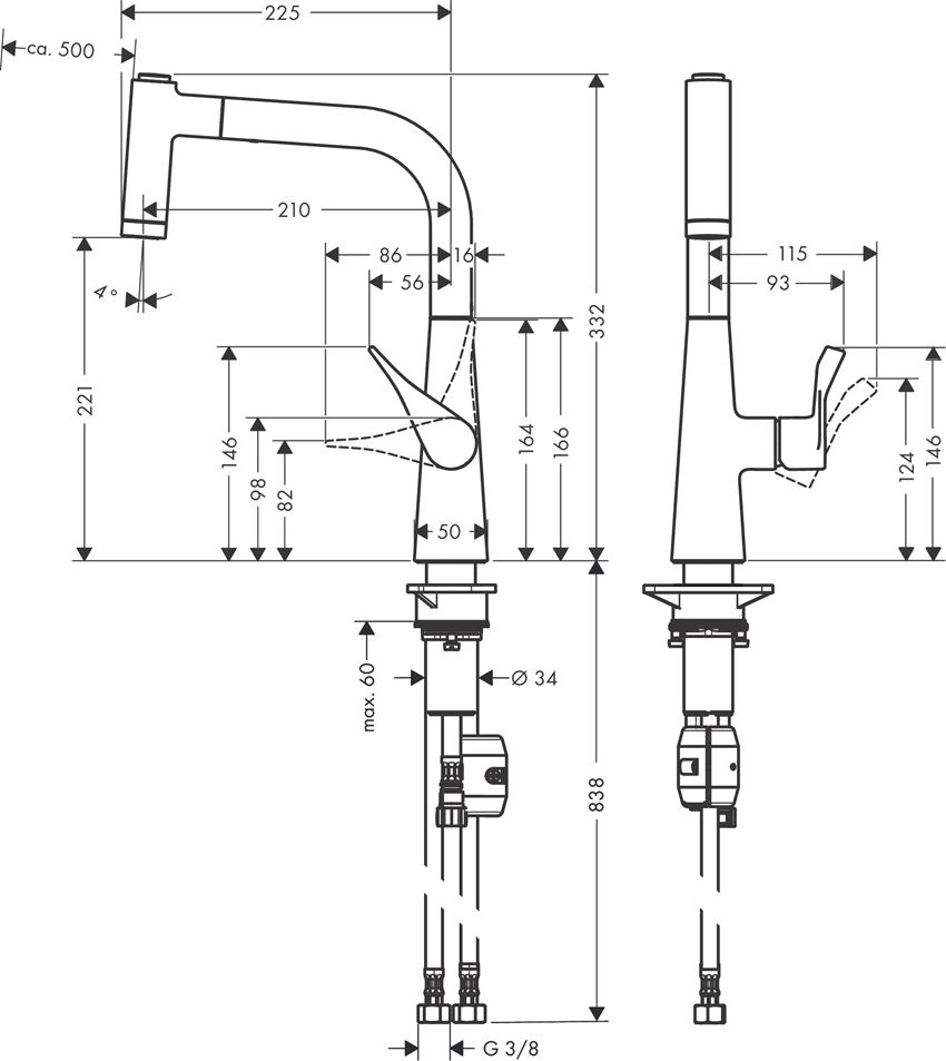 Jednouchwytowa bateria kuchenna 220 Hansgrohe Metris M71 rysunek techniczny