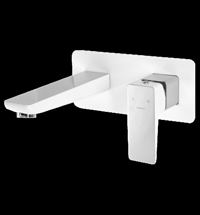 Bateria umywalkowa podtynkowa biały chrom Omnires Parma